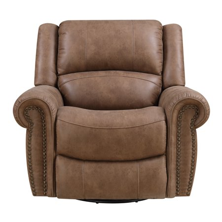 Emerald Home Spencer Brown Recliner with Swivel Glider, Nailhead Trim, And Pillow Back ()