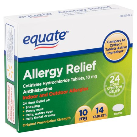 Equate Allergy Relief Cetirizine HCl Tablets 10mg, 14 Ct