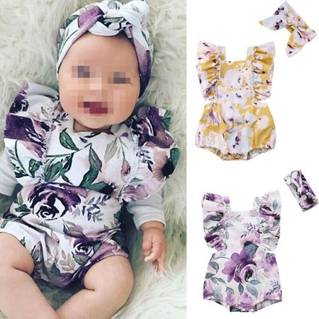 Newborn Baby Girls Butterfly sleeve Romper+Headband Set Infant Outfits Clothes - Butterflies Clothing