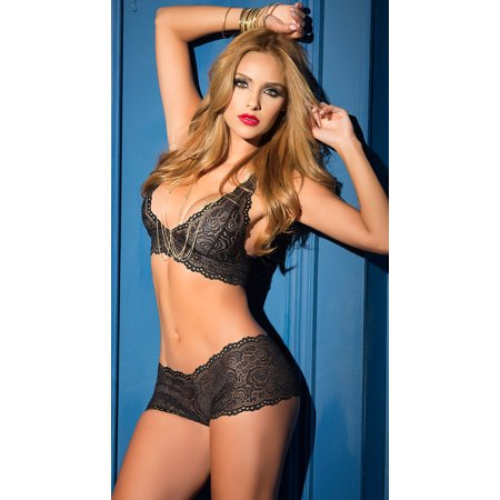 d1b62cb24 Espiral Yandy - Black Lacy Bralette And Panty Set