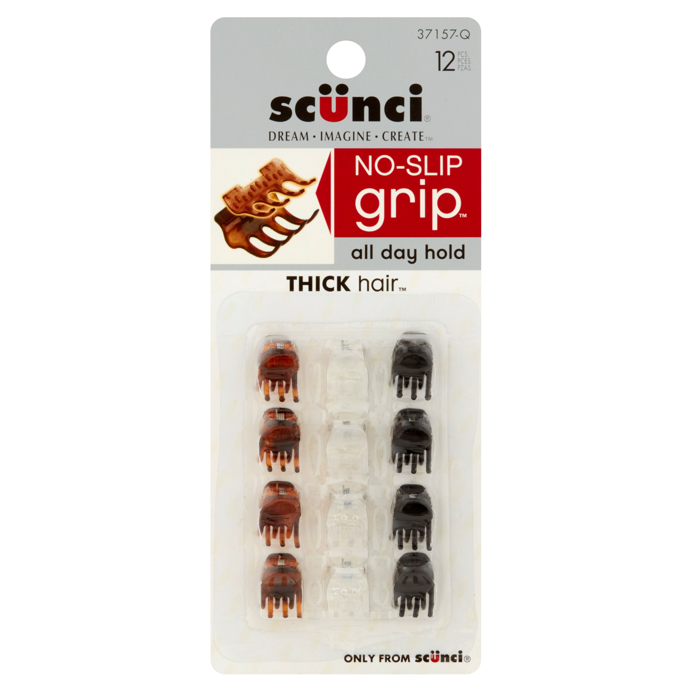 Scünci No-Slip Grip Hair Clip, 12 count