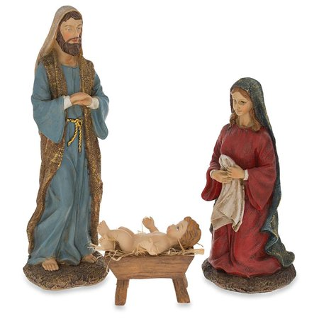 Hand Painted Nativity Scene Set of 3 Figurines 10 Inches](Outdoor Nativity Set)