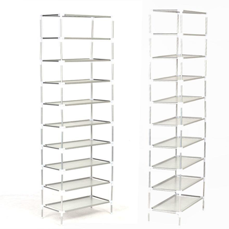 10 Tiers Shoe Rack 50 Pairs Non Woven Fabric Shoe Tower Storage Organizer  Cabinet