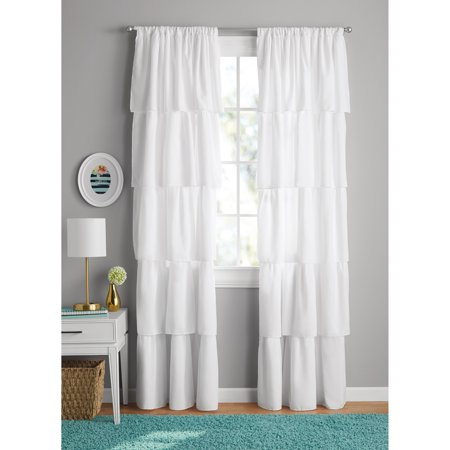 Your Zone Ruffle Girls Bedroom Curtain - Walmart.com