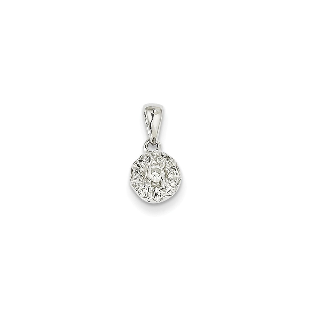14k White Gold 0.13ct Diamond Round Pendant. Carat Wt- 0.13ct