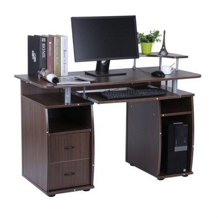 Office Computer Desk Work Station Home Table With Elevated Printer Shelf