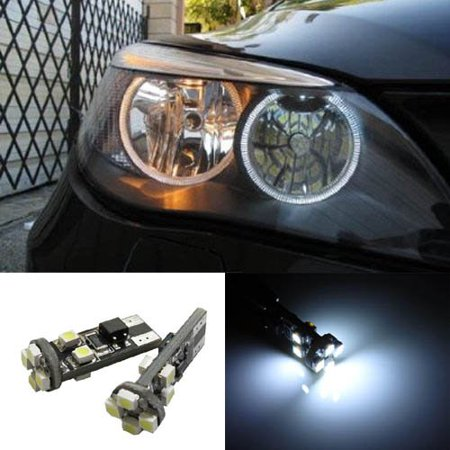 iJDMTOY Xenon White LED Angel Eyes Ring Marker Bulbs for BMW E60 525i 530i 545i 5 Series Pre-LCI Halogen Headlight Version ()