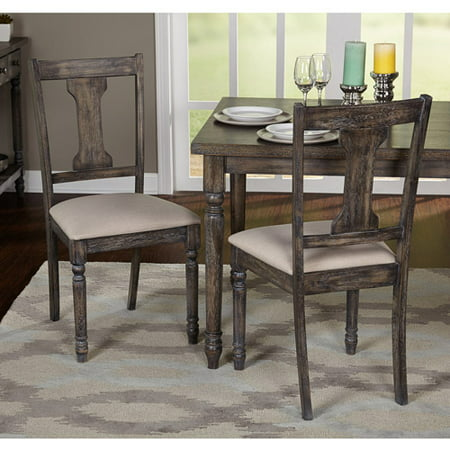 Burntwood Dining Chair Set Of 2 Weathered Grey Walmart Com