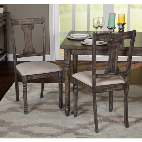 Burntwood Dining Chair, Set of 2, Weathered Grey