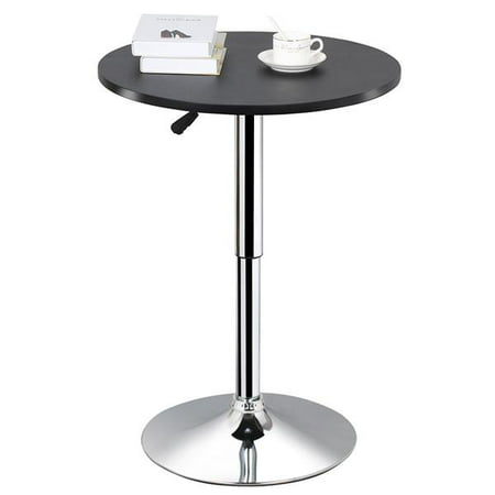 Black Round Bar Table - Modern Adjustable Round/Square Pub Table Bar Table 360 Degree Swivel MDF Top Black