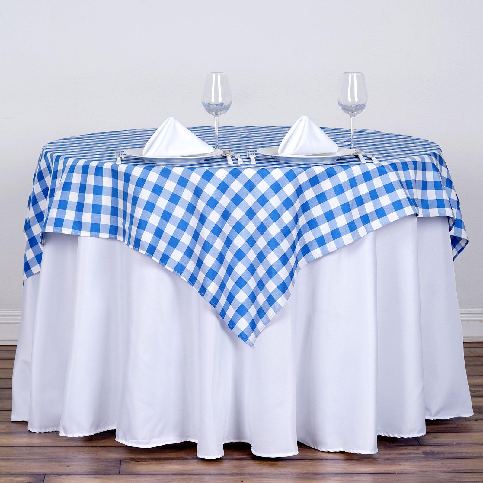"BalsaCircle 54"" x 54"" Square Gingham Checkered Polyester Tablecloth for Garden... by BalsaCircle"