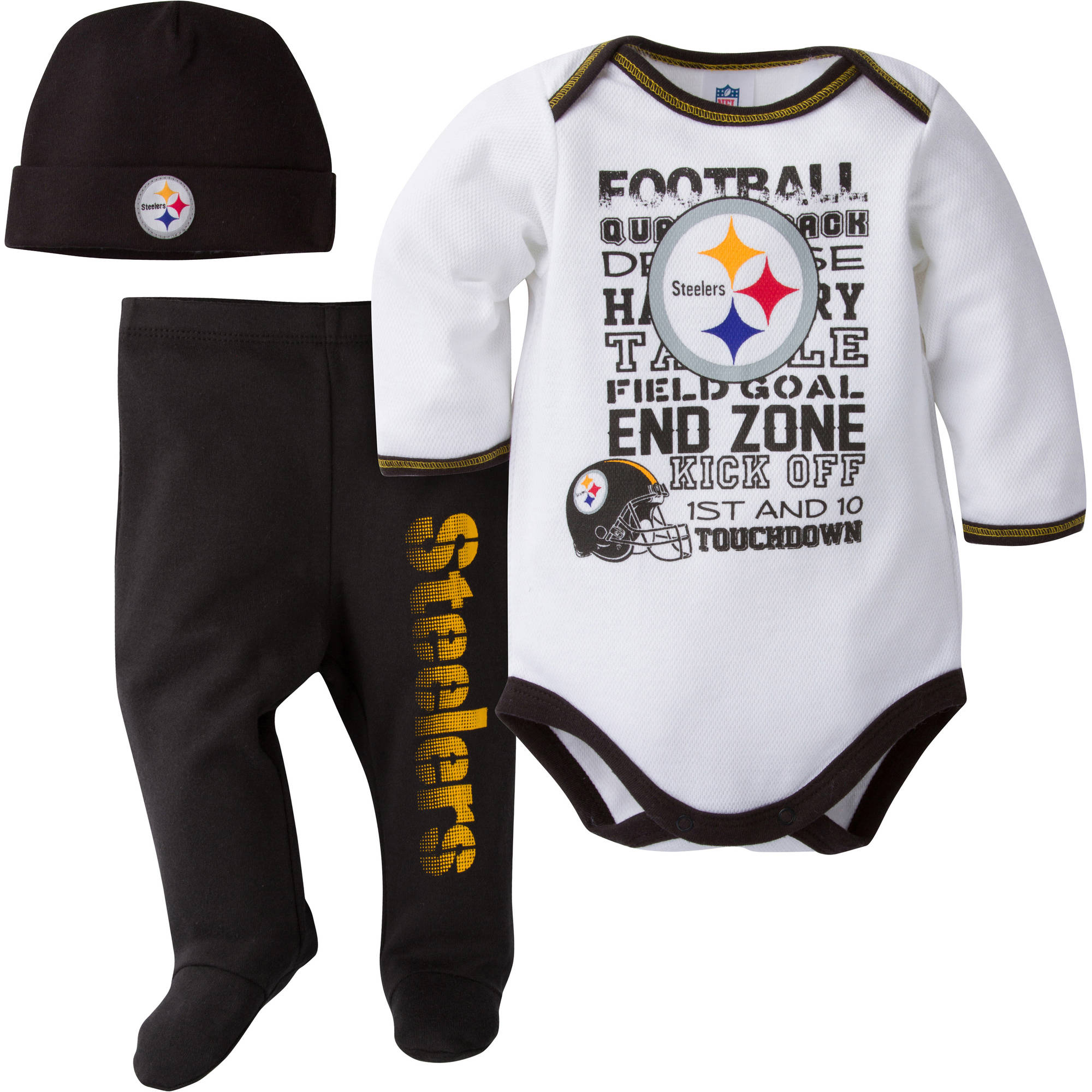 NFL Pittsburgh Steelers Baby Boys Bodysuit, Pant and Cap Outfit Set, 3-Piece