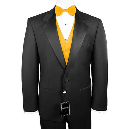 Neil Allyn 7-Piece Formal Tuxedo with Pleated Front Pants, Shirt, Gold  Vest, Bow-Tie & Cuff Links  Prom, Wedding, Cruise