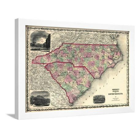 1861 United States Map.1861 North Carolina And South Carolina State Map North Carolina