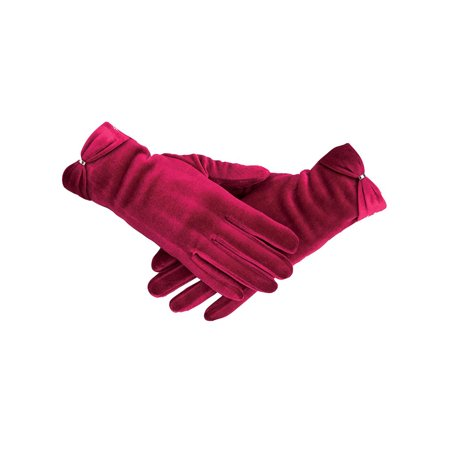 Collections Etc Women's Velvet Gloves with Bow Accent RED ()