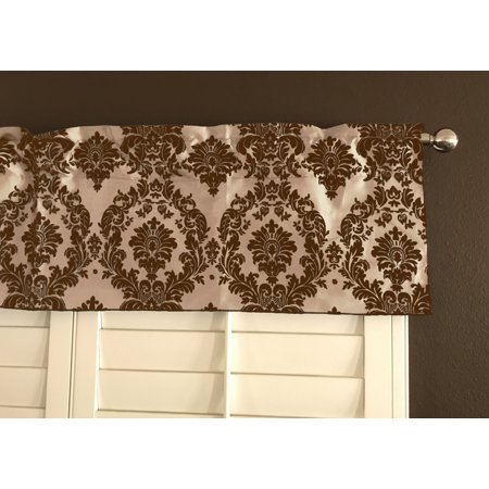 - flocking damask taffeta window valance 56 wide brown on beige