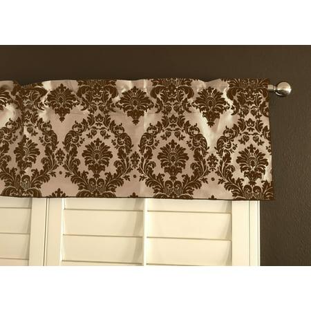 flocking damask taffeta window valance 56 wide brown on beige