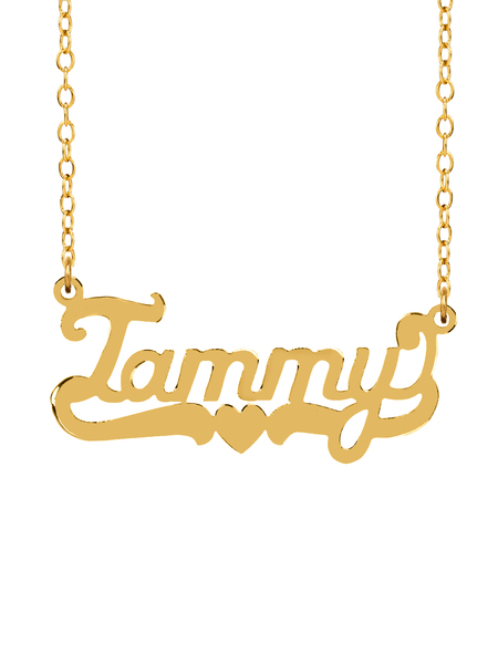 "Personalized Sterling Silver or 14K Gold Plated ""Tammy"" High Polished Name Necklace w/18"" Link Chain"