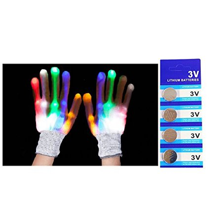 LED Light Gloves Xmas Gift, Birthday Gift, Halloween, Event Light Show Party Gloves with Extra 4 Pcs of Batteries (White Rainbow 7 Color & 6 Modes