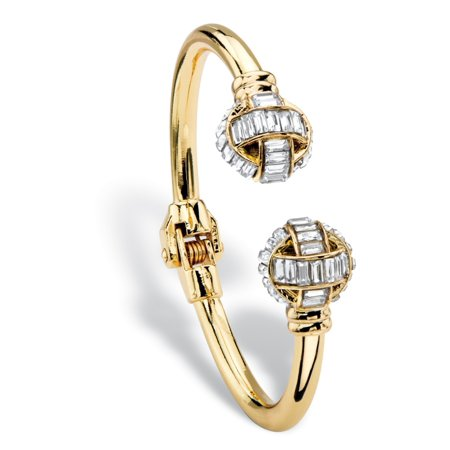 """Baguette-Cut White Crystal Ball Hinged Cuff Bracelet in Gold Tone 8"""""""