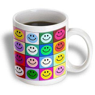 3dRose Colorful smiley face squares Warhol style - happy rainbow smilies - bright multicolored multicolor, Ceramic Mug, 11-ounce (Smiley Face Happy Halloween)