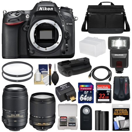 Nikon D7100 Digital SLR Camera with 18-140mm & 55-300mm VR Lenses, WU-1a, Bag & 32GB & 64GB Card + Battery & Grip + Flash & Diffuser + Geotag GPS Adapter + Filters + Kit