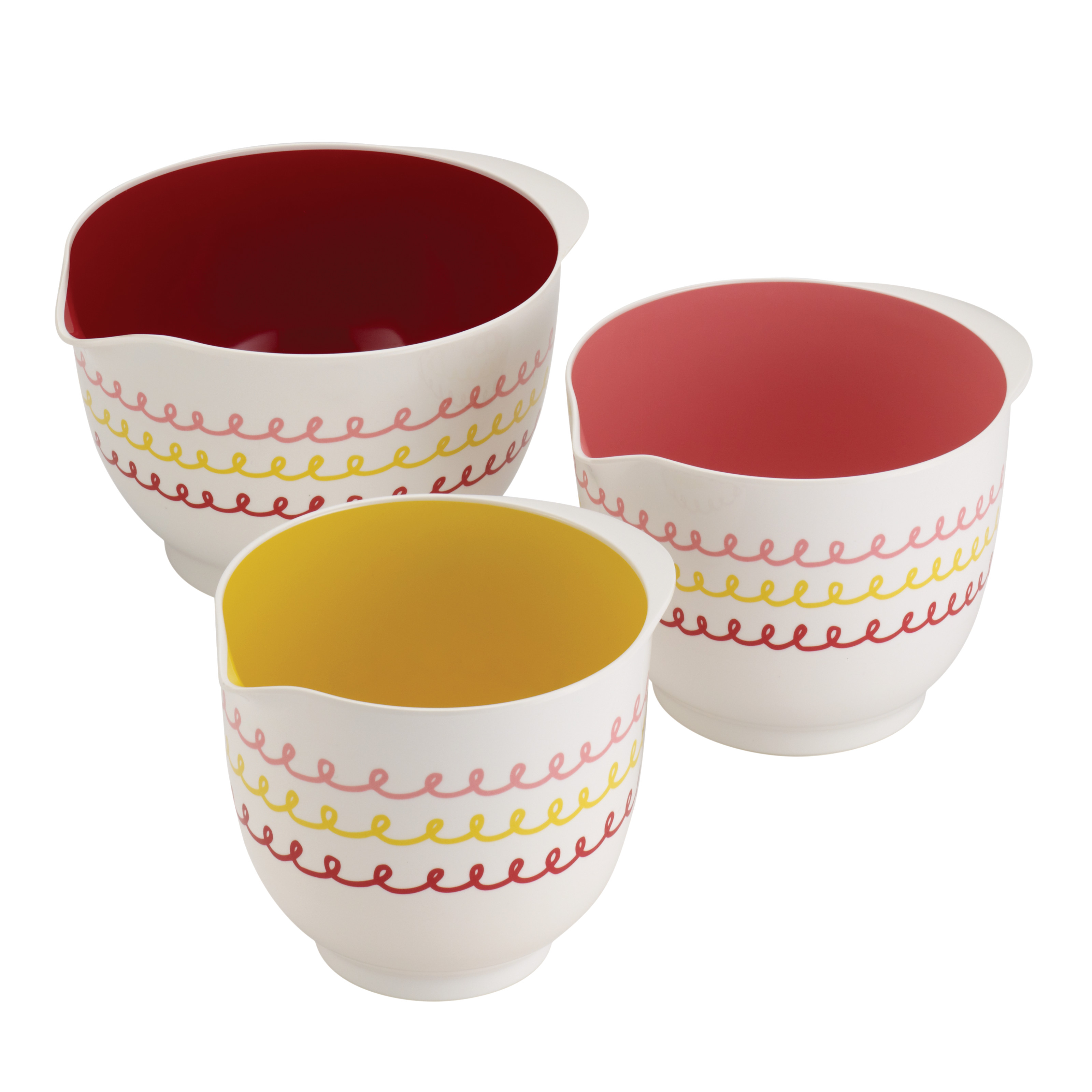 "Cake Boss Countertop Accessories 3-Piece Melamine Mixing Bowl Set, ""Icing"" Pattern, Print"