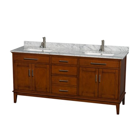 Wyndham Collection Hatton 72 inch Double Bathroom Vanity in Light Chestnut, White Carrera Marble Countertop, Undermount Square Sinks, and No Mirror