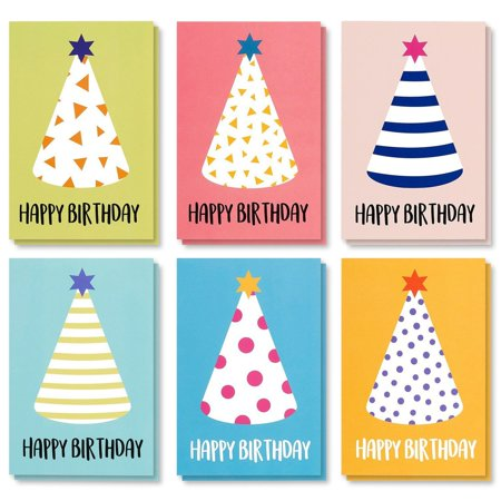 Birthday Cards In Bulk (Best Paper Greetings Birthday Card - 48-Pack Birthday Cards Box Set, Happy Birthday Cards - Party Hats Designs Birthday Card Bulk, Envelopes Included, 4 x 6)