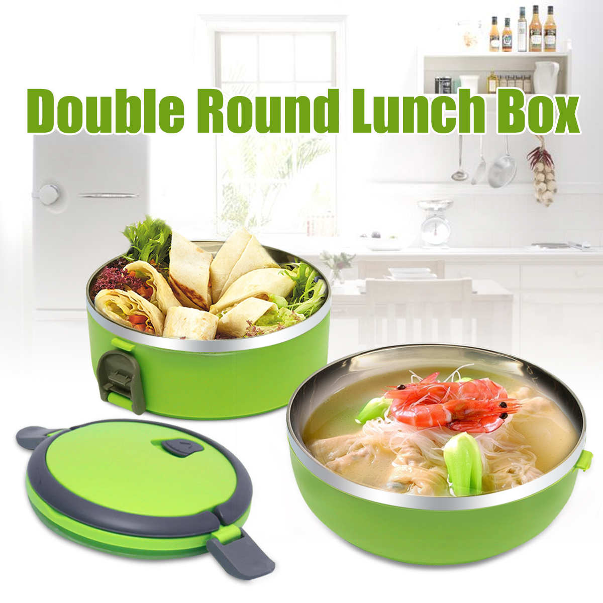 2 Layer Stainless Steel Bento Lunch Box Green Insulated Bento School Student Children Food Container Storage With Handle