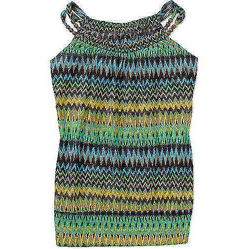No Boundaries Womens Plus-Size Crinkle Blouson Tank With Wooden Bead Detail