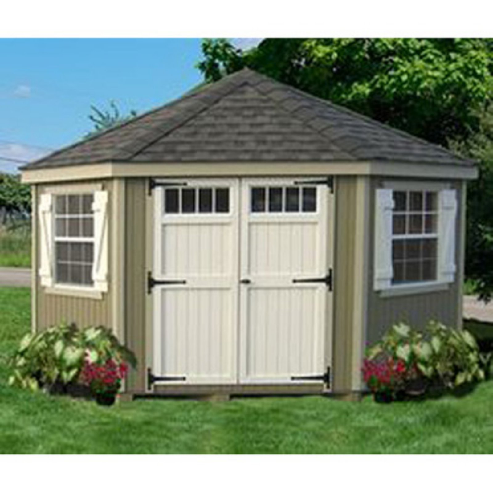 Little Cottage 5-Sided Colonial Panelized Garden Shed with Transom Windows and Optional Floor Kit