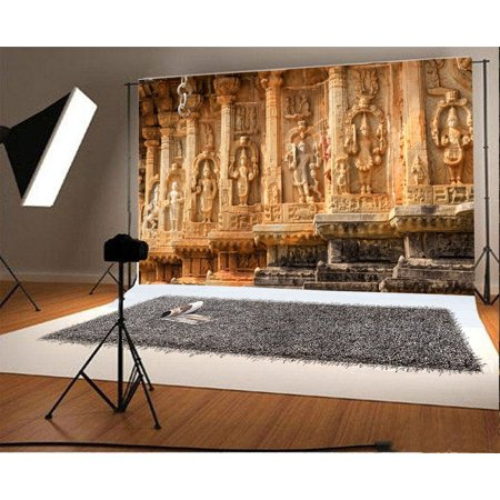 HelloDecor Polyster 7x5ft Backdrop Photography Background Palace Wall Stone Carved Figures Ancient Temple European Buildings Background Memorial theme Photo Portraits Adult Wedding Portrait - Stone Wall Background