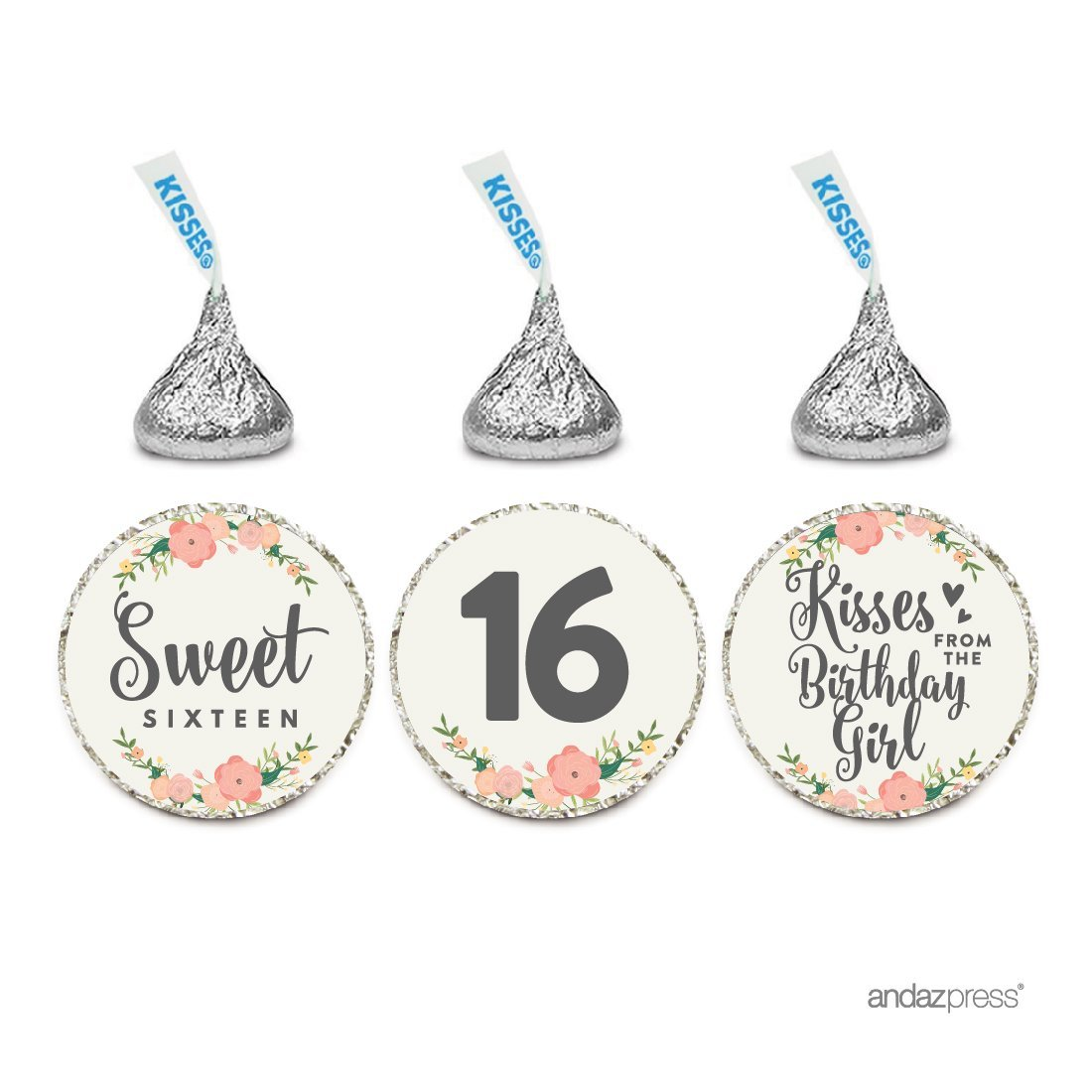 Chocolate Drop Labels Trio, Fits Hershey's Kisses, Sweet 16 Birthday, Floral Roses, 216-Pack