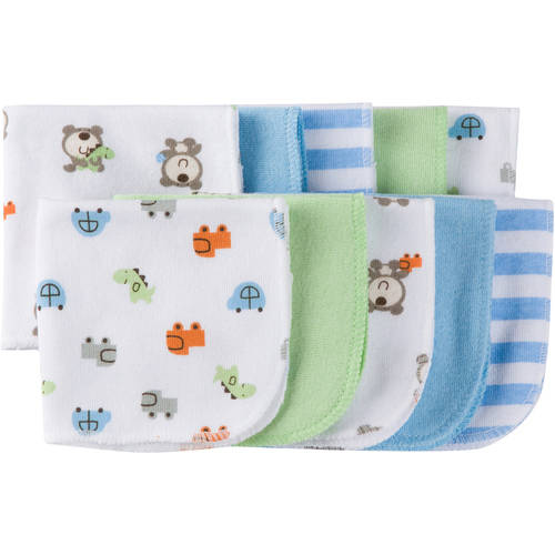 Gerber Baby Boy Terry Printed Washcloths, 10-Pack