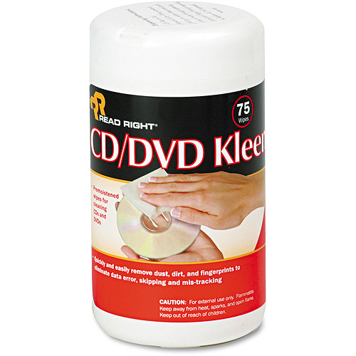 "Read Right CD/DVD Kleen Cleaner Wet Wipes, 5-1/4"" x 5-3/4"", 75-Tub"