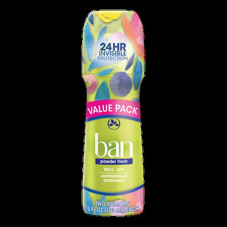 Ban Powder Fresh Roll-On Deodorant 3.5 oz Twin (Ban Canada)