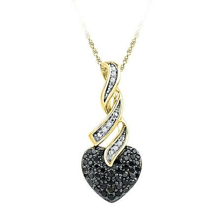 10kt Yellow Gold Womens Round Black Color Enhanced Diamond Heart Pendant 1/3 Cttw ()