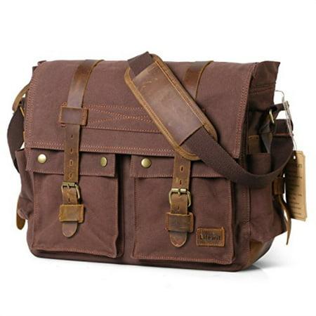 lifewit 17 men's messenger bag vintage canvas leather military shoulder laptop bags