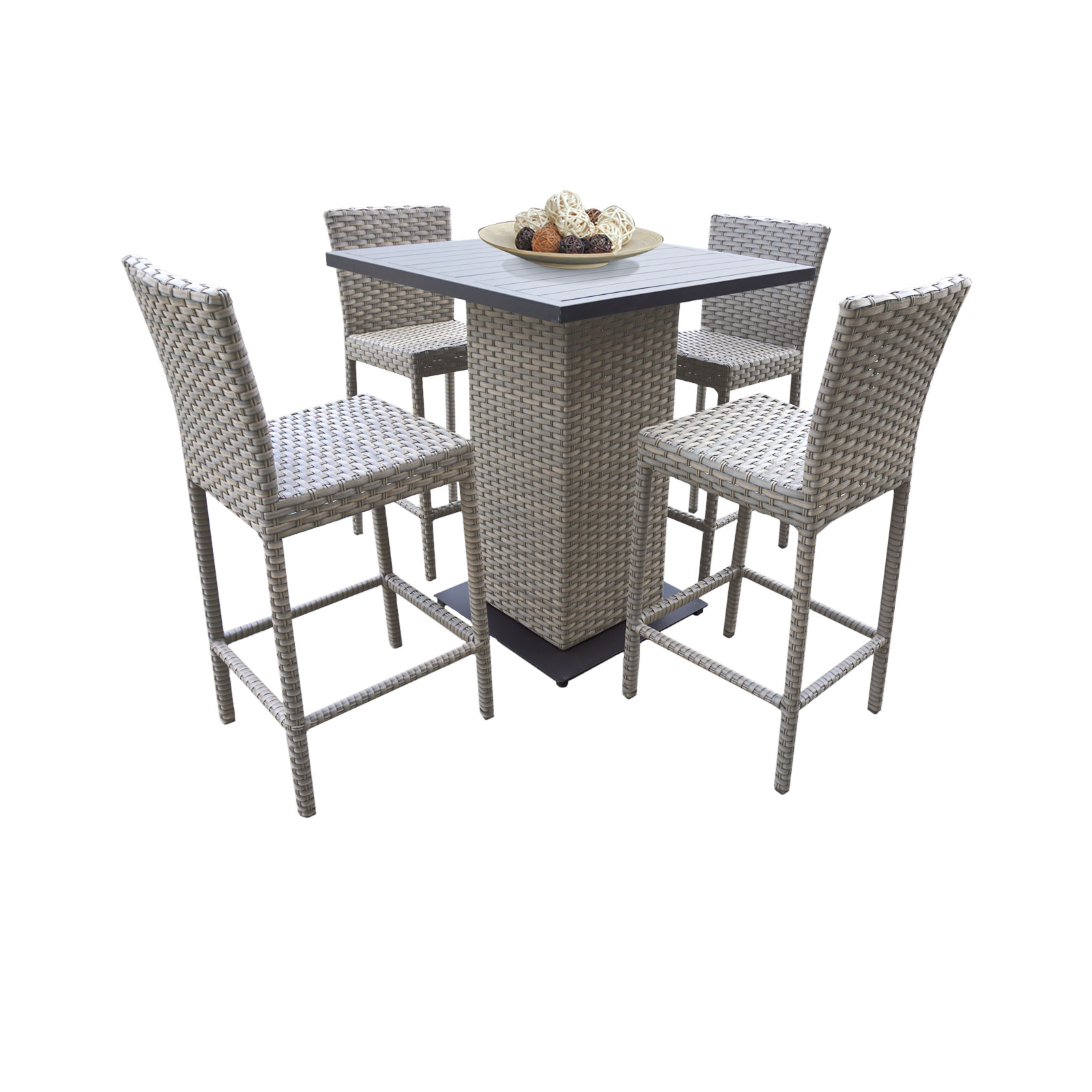 Harmony Pub Table Set With Bar Stools 5 Piece Outdoor Wicker Patio Furniture by TK Classics