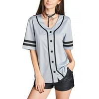 87482c377 Product Image Womens Double Stripe Elbow sleeve V-neck Baseball mash Shirts  Fashion Tops T2353