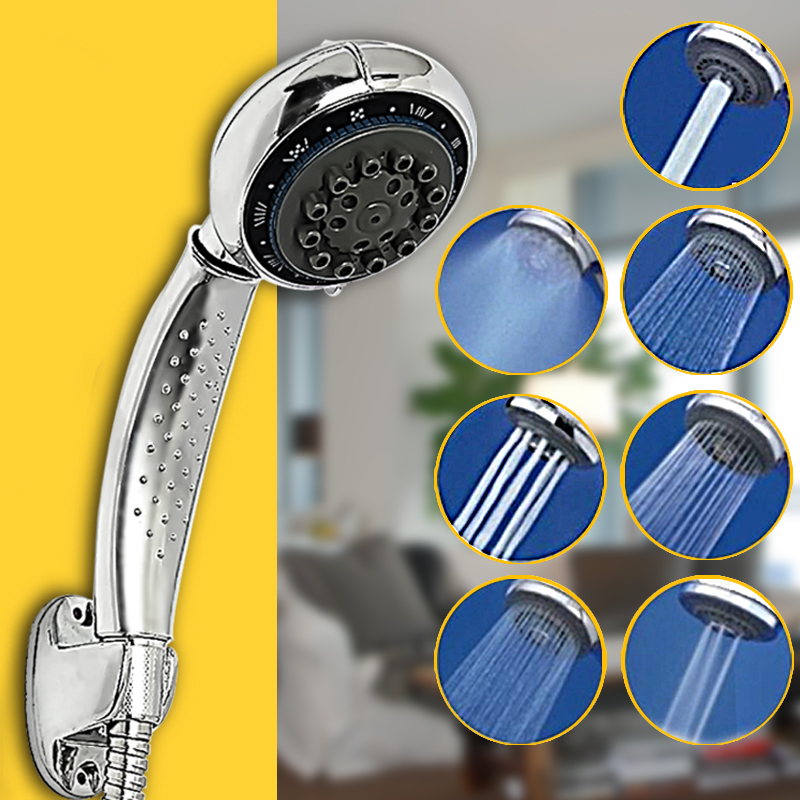 (NO WATER PIPE) 7 Function Handheld Shower Head ABS Chrome Water Saving Pressure Sprayer Sprinkler for Bathroom Washing Hair Pet Dog Hair Home Bath Faucet Replacement Accessories
