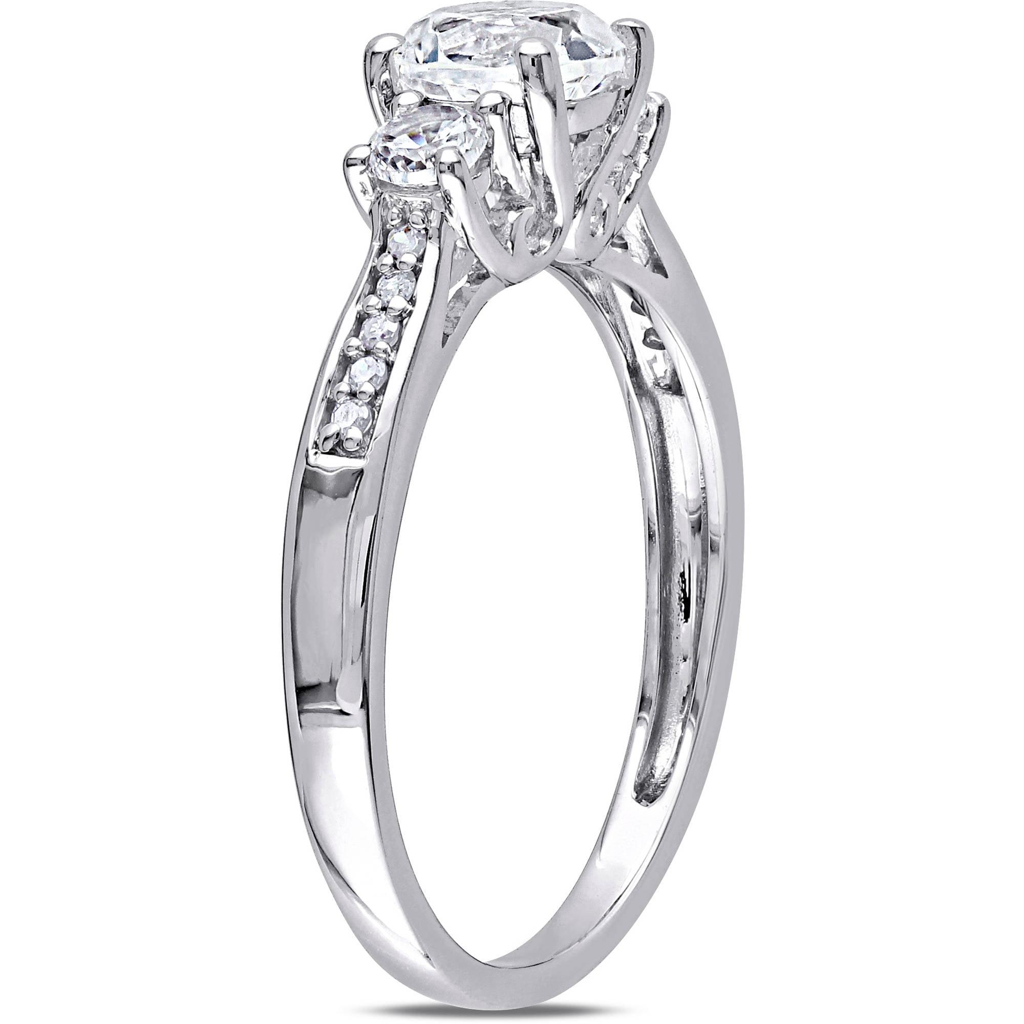 Miabella 1 1 3 Carat T G W Created White Sapphire and Diamond