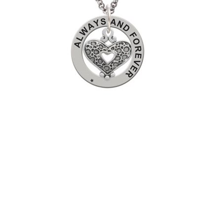 Antiqued Reptile Print Open Heart Always and Forever Affirmation Ring Necklace