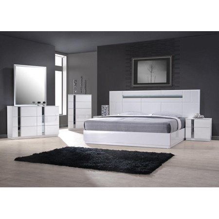 Contemporary King Bedroom Set in White Lacquer and Chrome ...