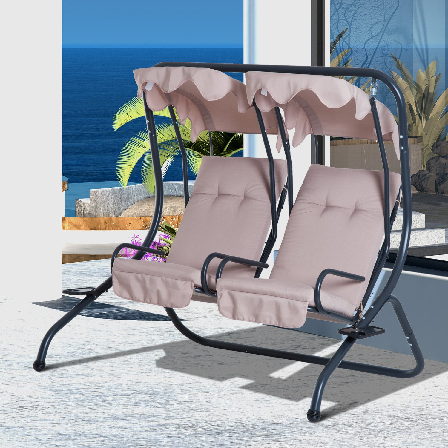 Etonnant 2 Seat Modern Outdoor Swing Chairs With Handrails And Removable Canopy    Beige   Walmart.com