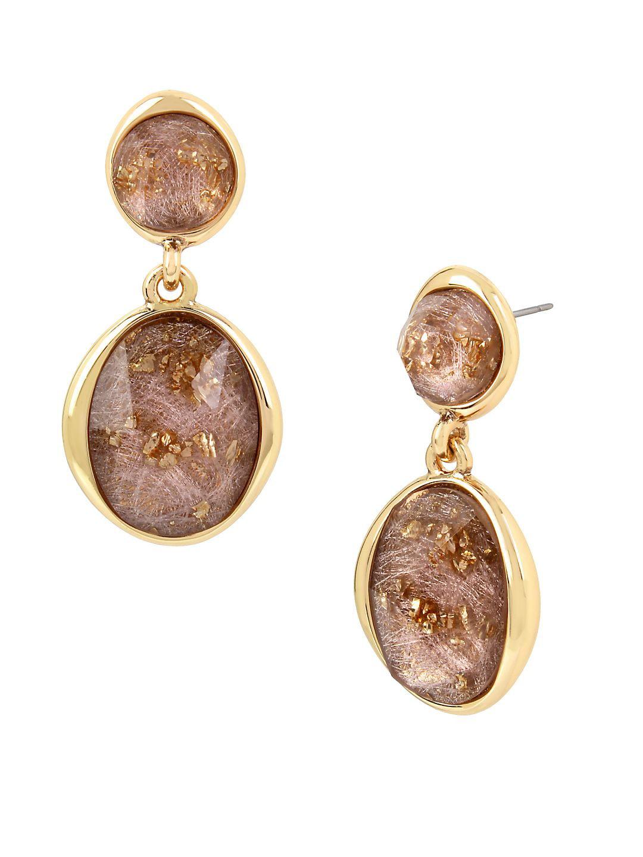 Druzy Links Crystal Double Drop Earrings