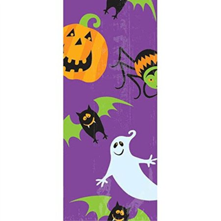 Amscan Family Friendly Halloween Gruesome Group Small Cello Party Bags, Multicolor, 9 1/2