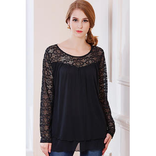 Women Round Lace Floral Neck Shirt and Blouse Black