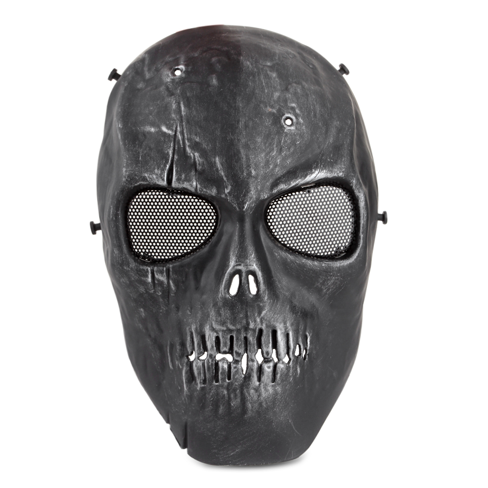 Airsoft Paintball Mask Full Face Skull Rusty Skeleton Metal Mesh Eye BB Field Protection Safety Guard Cosplay Black... by